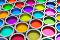 Color paint cans. Abstract creativity concept: group of tin metal cans with color paint dye Royalty Free Stock Photos