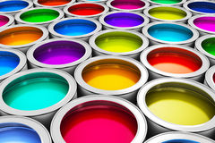 Color paint cans. Abstract creativity concept: group of tin metal cans with color paint dye Stock Image