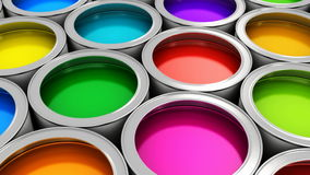 Color paint cans stock video footage