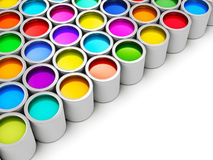 Color paint cans. Abstract creativity concept: group of tin metal cans with color paint dye isolated on white background Stock Photography