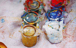 Color paint cans close up. Detail of Color paint cans stock photos