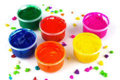 Color paint cans and color dabs of paint Stock Images