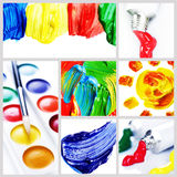 Color Paint Collage. Beautiful Paint Collage.Creativity concept Royalty Free Stock Photos
