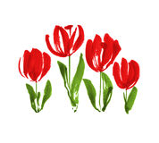 Color paint concept modern tulip flower sketch. Royalty Free Stock Photo