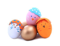 Color paint easter eggs on white background. Stock Photo