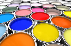 Color paint ink can. 3d image of different color paint ink tank background Stock Image