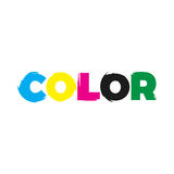 Color paint logo. Typographic illustration for word color blended with paint that can be used for logo or as isolated graphic element Royalty Free Stock Images