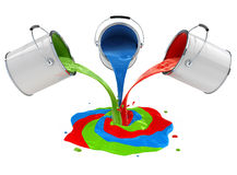 Color paint pouring from buckets and mixing. 3d-illustration, isolated on white background, with clipping path included Royalty Free Stock Image