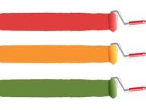 Color Paint Roller. 3 color Paint Roller painting on the white wall Stock Photos