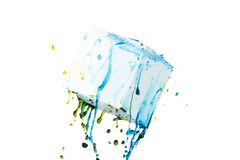 Color paint splash background, liquid cloud ink abstract isolated Royalty Free Stock Photo