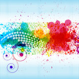 Color paint splashes. Gradient background on blue and white stripe background Stock Photo