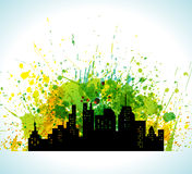 Color Paint Splashes Eco Green City Silhouette Background Stock Images