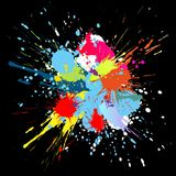 Color paint splashes. Gradient vector background. Illustration of color paint splashes on black background Royalty Free Stock Photography