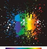 Color paint splashes. Gradient vector background. Illustration of color paint splashes on black Royalty Free Stock Photos