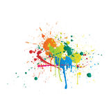 Color Paint Splashes On White Background Stock Images