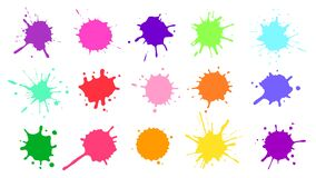 Free Color Paint Splatter. Colorful Ink Stains, Abstract Paints Splashes And Wet Splats. Watercolor Or Slime Stain Vector Set Royalty Free Stock Photos - 178571538
