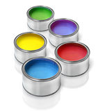 Color paint tin cans Royalty Free Stock Images