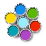 Color paint tin cans top Royalty Free Stock Photos