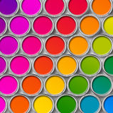 Color paint tin cans top view. Paint tin can color palette, cans opened, top view stock image