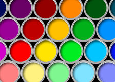 Color paint tins Royalty Free Stock Photo