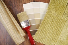 Color paint  wallpaper and carpet choice. For interior Stock Images