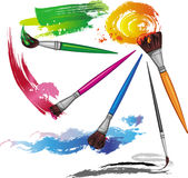 Color paintbrush with splashes Royalty Free Stock Images