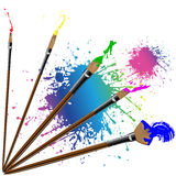 Color paintbrush with splashes Stock Photo