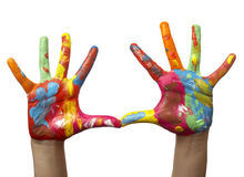 Color painted child hand royalty free stock photography