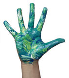Color painted child hand art craft Royalty Free Stock Image