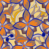 Color painted decorative floral abstract background Stock Image