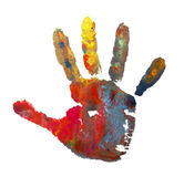 Color painted hand mark 1 Stock Images