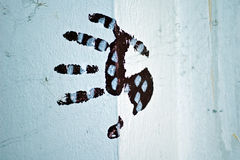 Color painted handprint Royalty Free Stock Photography