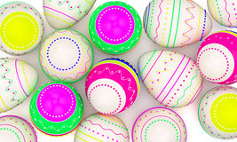 Color painted in neon colors modern easter eggs Royalty Free Stock Image