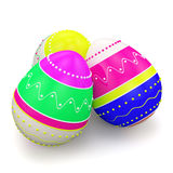 Color painted in neon colors modern easter eggs Royalty Free Stock Images