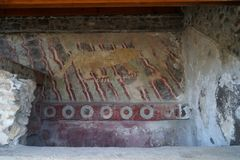 Color painting on the wall of pyramid in Teotihuacan, Mexico Stock Image