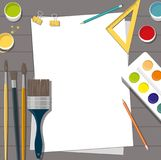 Color paints and brushes, tools. Isolated on dark background. Flat design style concept Stock Image