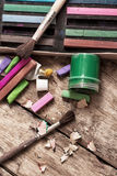 Color paints, crayons and pencils Royalty Free Stock Photography