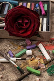 Color paints, crayons and pencils Royalty Free Stock Images
