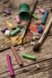 Color paints, crayons and pencils Royalty Free Stock Image