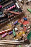 Color paints, crayons and pencils Stock Photo