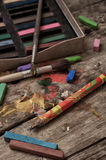 Color paints, crayons and pencils Stock Image
