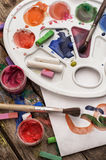 Color paints, crayons and pencils Royalty Free Stock Photo