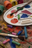 Color paints, crayons Stock Image