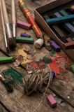 Color paints, crayons Stock Images