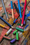 Color paints, crayons Royalty Free Stock Image