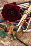 Color paints, crayons Royalty Free Stock Images