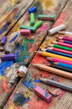 Color paints, crayons Stock Photography