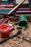 Color paints,crayons and pencils for drawing Stock Images