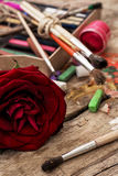 Color paints,crayons and pencils for drawing Stock Photography