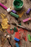 Color paints,crayons and pencils for drawing Royalty Free Stock Photos